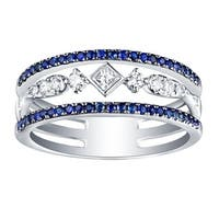 Prism Jewel Blue Sapphire & G-H/SI1 Natural Diamond Anniversary Ring - White G-H
