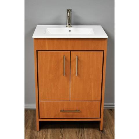 Volpa USA Pacific 30-inch in Honey Maple Freestanding Bathroom Vanity Set
