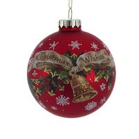 "Pack of 6 Red and Brown ""Christmas Wishes"" Glass Ball Ornament 3.5"""