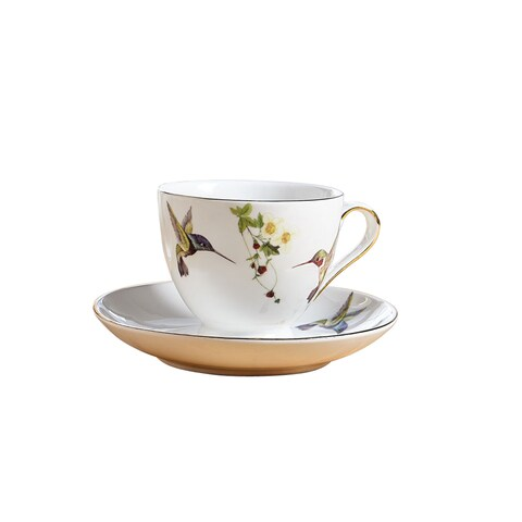 Abbott Collection Bone China Hummingbird Teacup and Saucer - White Mug with Colorful Birds and 10K Gold Accents