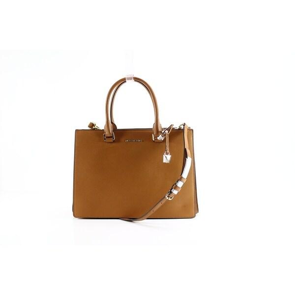 725e768eb992 Shop Michael Kors NEW Brown Leather Acorn Sutton Gusset Satchel Bag ...