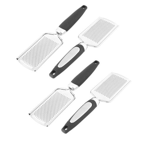 Home Kitchen Stainless Steel Carrot Cheese Grater Slicer Zester Silver Tone 4pcs