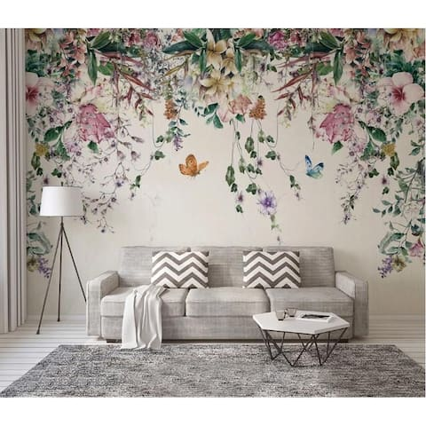 Colorful Flowers and Leaves Floral Removable Textile Wallpaper