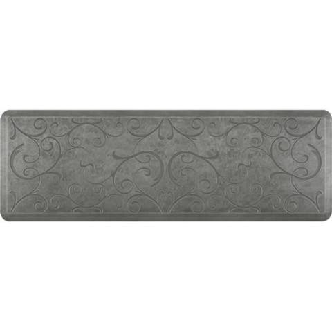 "WellnessMats Estates Bella Anti-Fatigue Office, Bathroom, & Kitchen Mat, Silver Leaf, 72"" by 24"""