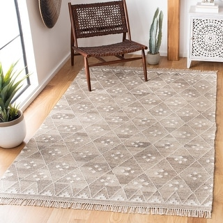 Link to Safavieh Handmade Natural Kilim Domiziana Wool Rug with Fringe Similar Items in Rustic Rugs