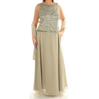 JKARA $269 Womens New 1230 Green Beaded W/scarf Sheath Dress 12 B+B