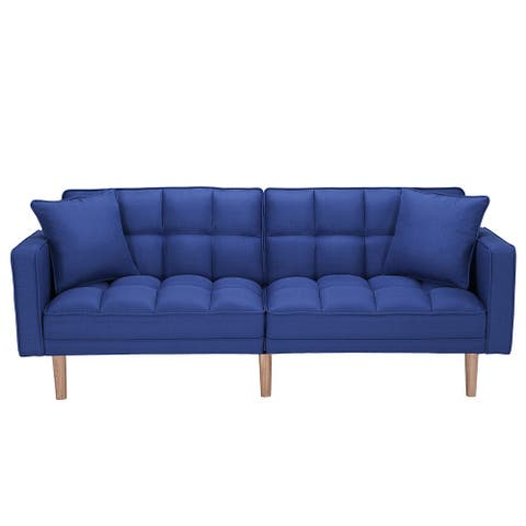 Futon sofa bed sleeper dark blue linen fabric - 8' x 10'