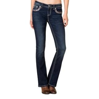 Miss Me Denim Jeans Womens Mid Rise Headdress Boot Cut Medium MP7758B