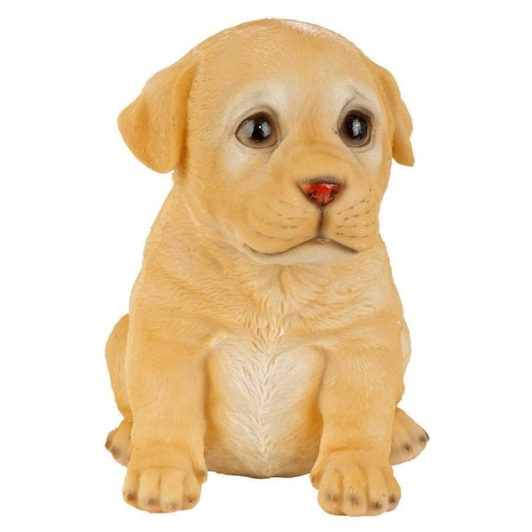 """6'"""" Sitting Yellow Lab Puppy Dog Hand Painted Outdoor Garden Statue - N/A"""