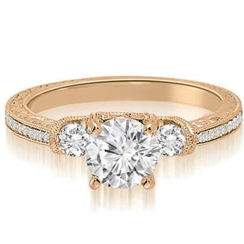 1.00 cttw. 14K Rose Gold Milgrain Three-Stone Round Diamond Engagement Ring