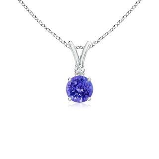 Angara V-Bail Round Tanzanite Solitaire Pendant with Diamond - Blue/White