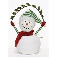 "17"" Happy Holidays Animated and Musical Snowman Christmas Figure - WHITE"