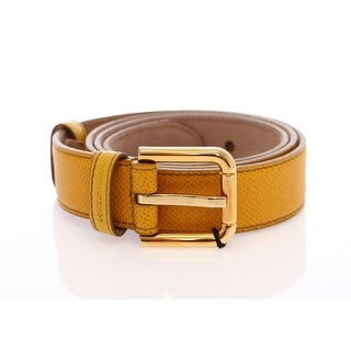 Dolce & Gabbana Yellow Leather Gold Logo Belt - 70-cm-28-inches