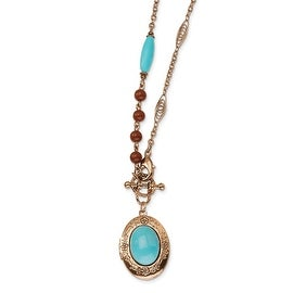 Copper Aqua & Brown Acrylic Beads Locket Necklace - 16in