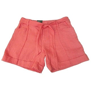 INC NEW Pink Pale Rose Women's Size 6 Belted Linen Rhinestone Shorts