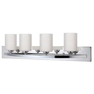 Canarm Luztar Hampton 4 Bulb Vanity Light with Line Painted Glass - Chrome Finish