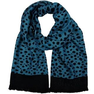 Versace SC56 STCK 004 Turquoise/Black 100% Wool Mens Scarf
