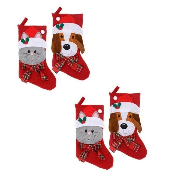 /'Merry Christmas/' Fun Cat Christmas Felt Gift Stocking Holder for Pets
