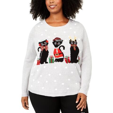 Karen Scott Womens Plus Cats Christmas Sweater Graphic Knit - Grey Combo