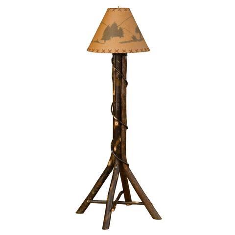 Hickory Log Floor Lamp - Bear Shade