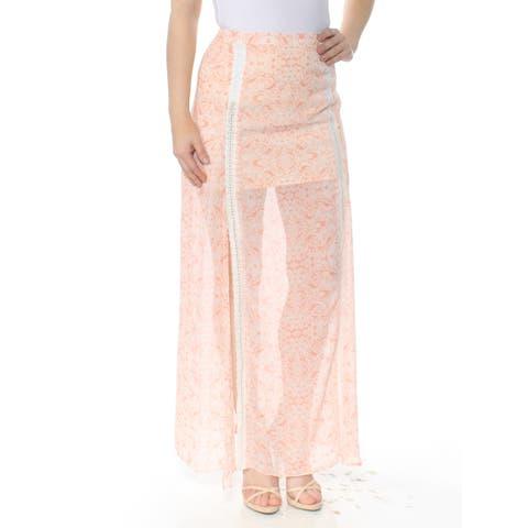 GUESS Womens Pink Printed Crochet Trim Maxi Skirt Size: 2