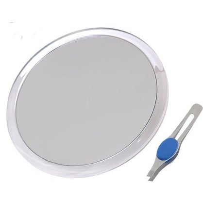 "JUMBL Large 8"" Suction Cup 5X Magnifying Mirror with Precision Tweezers"