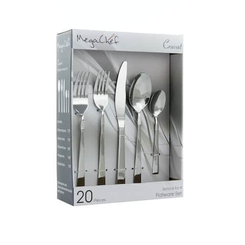 MegaChef Cravat 20 Piece Flatware Utensil Set, Stainless Steel Silverware Metal Service for 4 in Silver