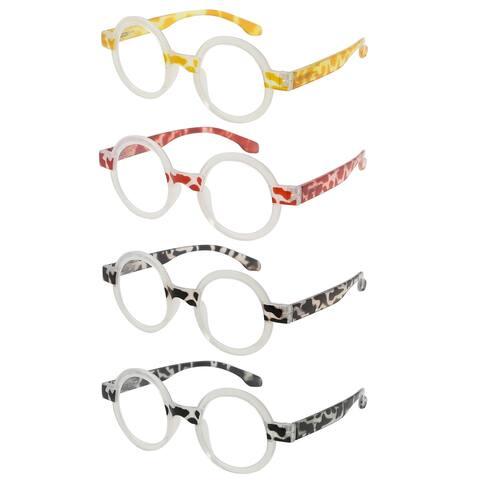 Eyekepper 4 Pack Round Reading Glasses for Women Readers Eyeglasses