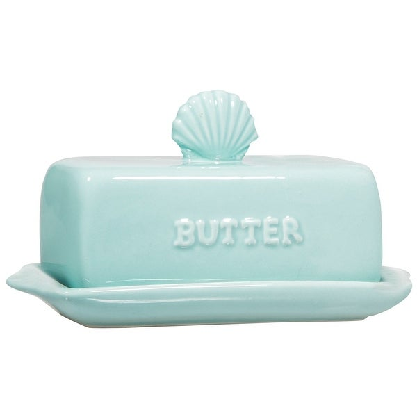 Ceramic Butter Dish- Nautical Dish with Lid (Sea Blue with Seashell)