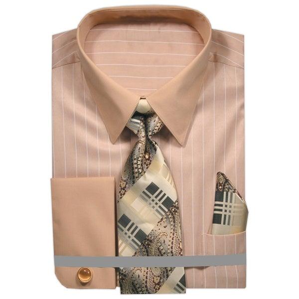 Men/'s Spaced Stripe Dress Shirt with Neck Tie Handkerchief Cufflinks French Cuff
