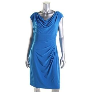 Lauren Ralph Lauren Womens Petites Pleated Cowl Neck Wear to Work Dress