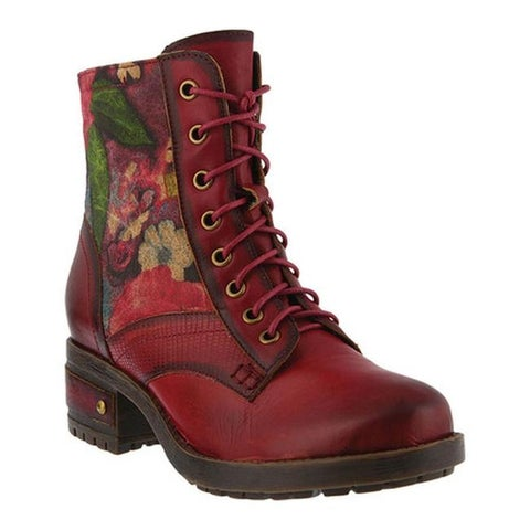L'Artiste by Spring Step Women's Marty Lace Up Boot Red Leather