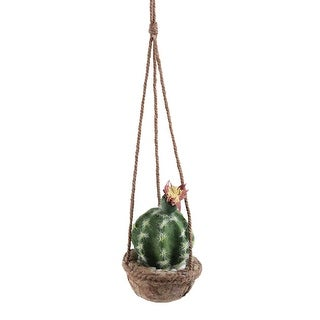 """7"""" Southwestern Style Hanging Green Potted Cactus with Flower - N/A"""
