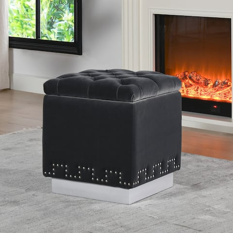 Milly Accent Tufted Metal Base Storage Cube Ottoman