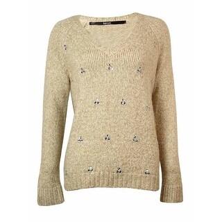 kensie Women's Embellished V-Neck Sweater