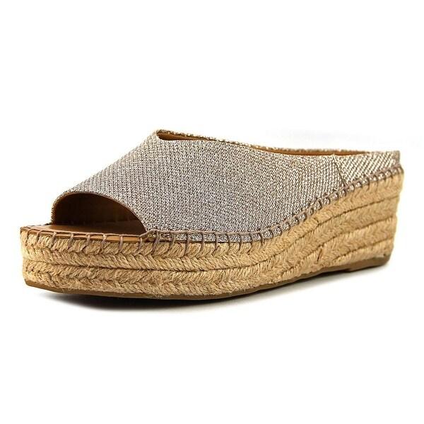 Franco Sarto Pine Women Open Toe Canvas Silver Wedge Sandal