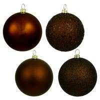 "4ct Chocolate Brown Shatterproof 4-Finish Christmas Ball Ornaments 6"" (150mm)"
