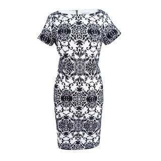Sandra Darren Women's Petite Brocade-Print Sheath Dress - IVORY/BLACK - 8P