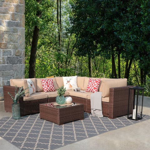 6-Piece Outdoor Wicker Cushioned Sofa Set with Coffee Table