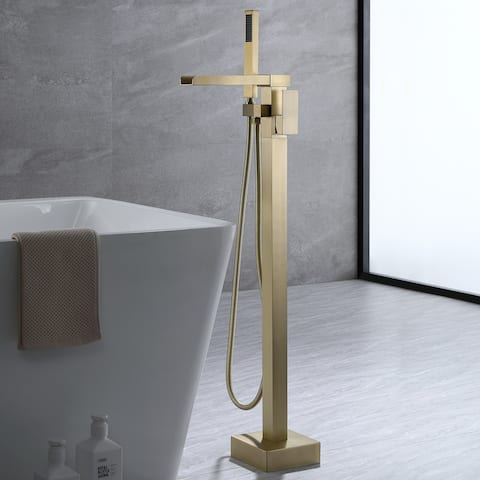 Luxury Brushed Gold Water Fall Bathtub Faucet Freestanding Tub Filler With Handheld Shower