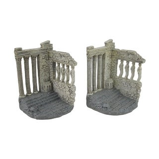 Set of 2 Parthenon Inspired Light Gray Decorative Bookends