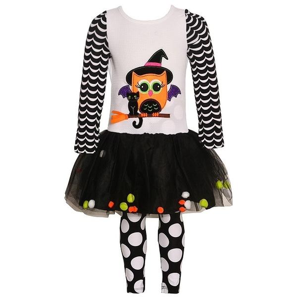 Rare Editions Baby Girls White Black Cat Owl Halloween 2 Pc Legging Set