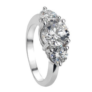 ARABELLA Classic Three Stone Silver Engagement Ring - MADE WITH SWAROVSKI® ELEMENTS - White
