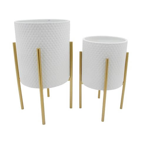 Diamond Design White/Gold Metal Stand Planter (Set Of 2)
