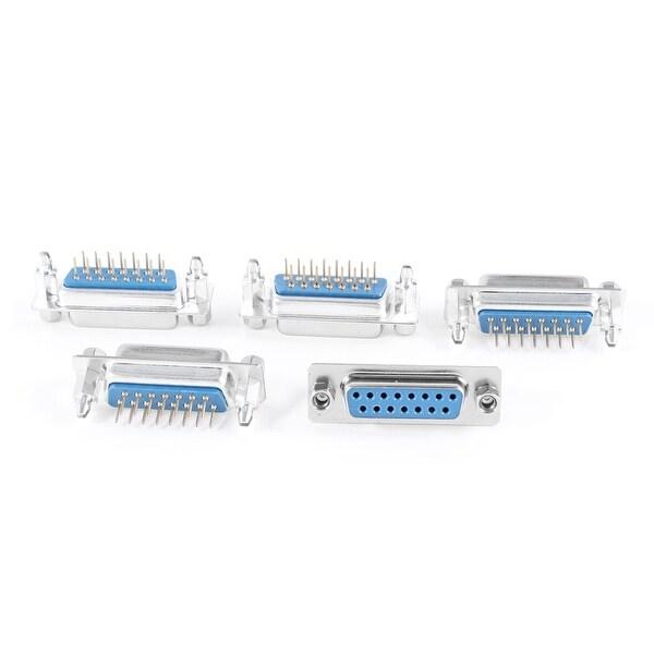 Unique Bargains DB15 15 Pin Lock Screw 180 Degree Female Plug D-sub PCB Connector 5 Pcs