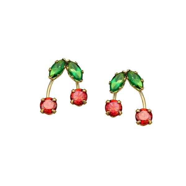 Cherry Stud Earrings with Cubic Zirconia in 14K Gold - Red
