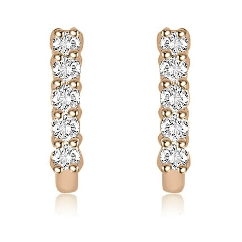 0.30 cttw. 14K Rose Gold Round Cut Latchback Diamond Earrings