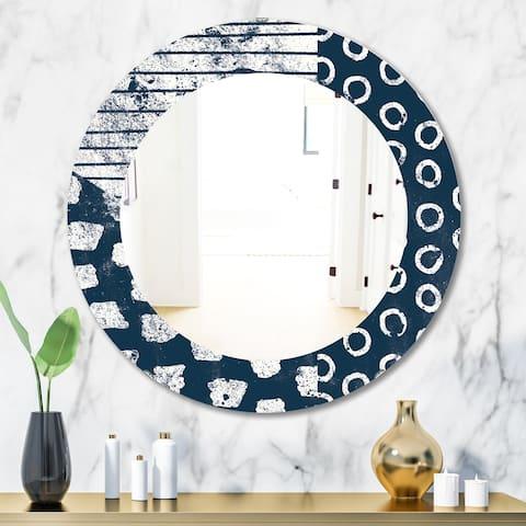 Porch & Den Dane Indigo Stripe and Circle Frameless Mirror - Blue