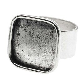 Nunn Design Antique Silver Plated Pewter Large Bezel 16mm Square Adjustable Ring