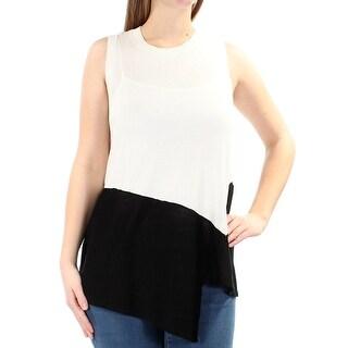 ANNE KLEIN $79 Womens New 1310 Ivory Color Block Asymmetrical Sweater M B+B